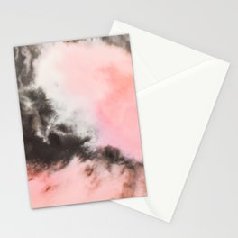 Pink and black marbled paper Stationery Cards