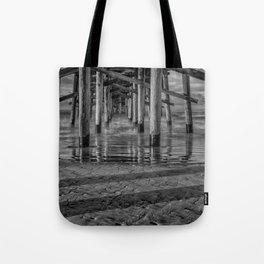 Sunrise Under Newport Pier in Black and White Tote Bag
