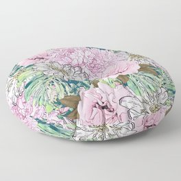 Cute Girly Blush Pink & White Floral Illustration Floor Pillow