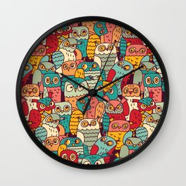 Funny owls birds group color seamless pattern. Wall Clock