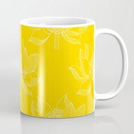 Lovely Modern Lotus Flowers on Sunny Yellow Background - Spring Summer Mood #decor #society6 #buyart Coffee Mug