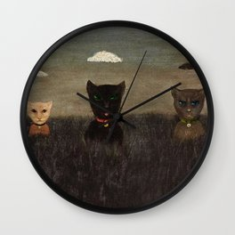 Three Bad Cats ( Tres Gatos Malos) by Gertrude Abercrombie Wall Clock