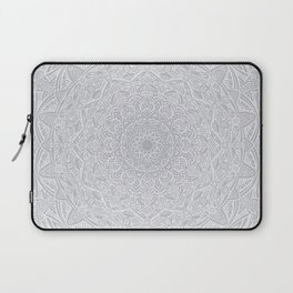 Most Detailed Mandala! Cool Gray White Color Intricate Detail Ethnic Mandalas Zentangle Maze Pattern Laptop Sleeve