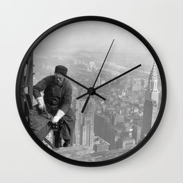 Building the Empire State Building New York City Skyline Wall Clock