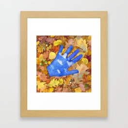 autumn sky mitten. original watercolour illustration Framed Art Print