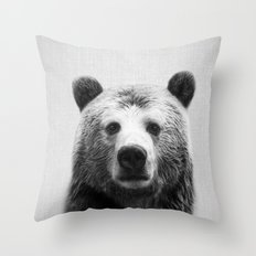Bear - Black & White Throw Pillow