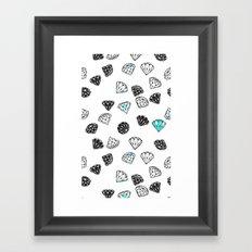 Diamonds On White Framed Art Print