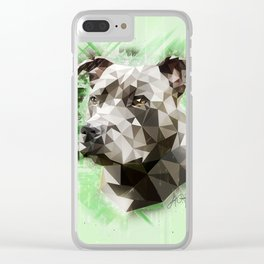 Staffordshire Bull Terrier (Low Poly) Clear iPhone Case