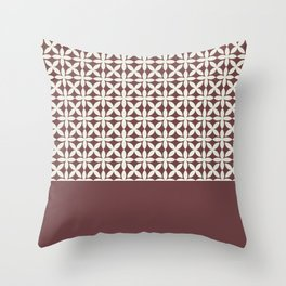 Pantone Cannoli Cream Square Petal Pattern on Pantone Red Pear Throw Pillow