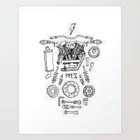 motorcycle Art Prints featuring Motorcycle by ElaBaer