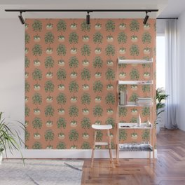 Chinese money plant in a basket planter Wall Mural
