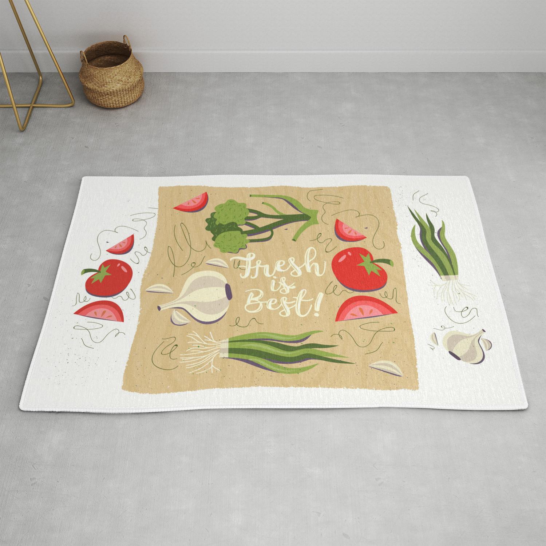 Fresh Is Best In The Kitchen Rug By Littlebunnywordtime