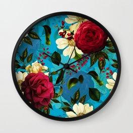 Mystical Blue Rose Garden Wall Clock