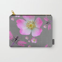 ROSE DRAGONFLIES & WILD PINK ROSES Carry-All Pouch