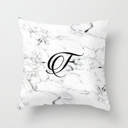 Letter F on Marble texture Initial personalized monogram Throw Pillow