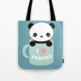 Kawaii I Love Pandas Tote Bag