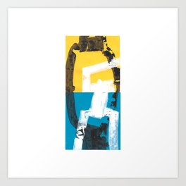 Yellow and blue abstract painting Art Print