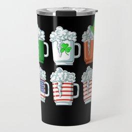 ireland flag american flag beer Travel Mug