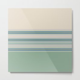 Mint Green Cream Stripes Metal Print
