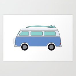 Blue Beach Van Art Print