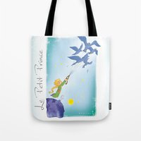 le petit prince Tote Bags featuring Le Petit Prince by karicola