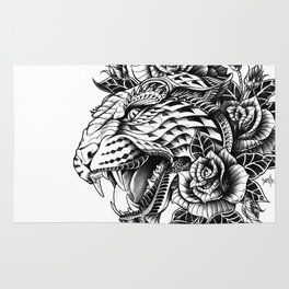 Ornate Leopard Black & White Variant Rug