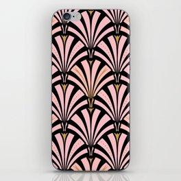 Art Deco Fan Pattern, Pastel Peach on Black iPhone Skin