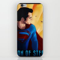 man of steel iPhone & iPod Skins featuring Man of Steel by sevillaseas