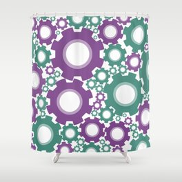 A Cog design in modern colours Shower Curtain