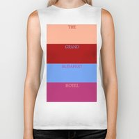 the grand budapest hotel Biker Tanks featuring Grand Budapest minimalist poster by cinemaminimalist