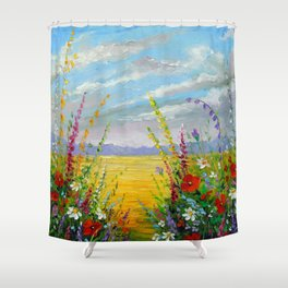 Summer flowers in the field Shower Curtain