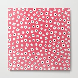Coral White Spring Flower Pattern Metal Print