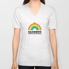 Rainbows should be portable. Unisex V-Neck
