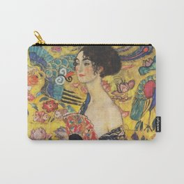 Gustav Klimt Lady With Fan  Art Nouveau Painting Carry-All Pouch