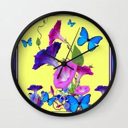 Blue Purple Morning Glories Butterfly Art Noveau Wall Clock