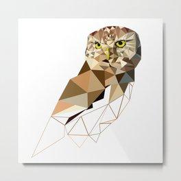 Geometric owl art Bird artwork Woodland birds Metal Print