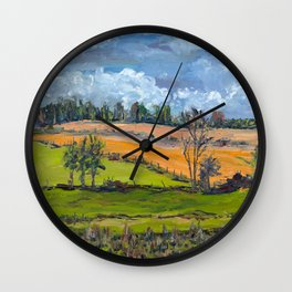 Clouds over fields Wall Clock