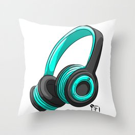 Blue and black headset Throw Pillow