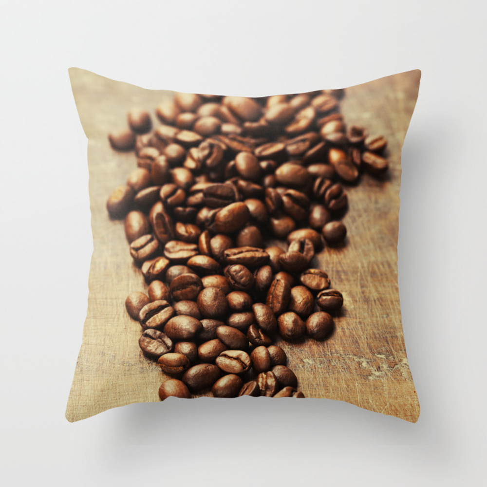 Coffee Beans On Wooden Background Throw Pillow by Klenova PLW8621128