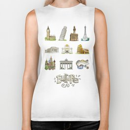Europe with significant buildings Biker Tank