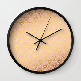 Gold and pink sparkling Mermaid pattern Wall Clock