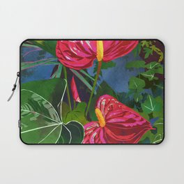 Red Anthurium Tropical Flower Watercolor Art Laptop Sleeve