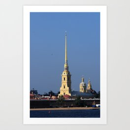 The spire of the Peter and Paul Cathedral and the embankment of the Peter and Paul Fortress Art Print