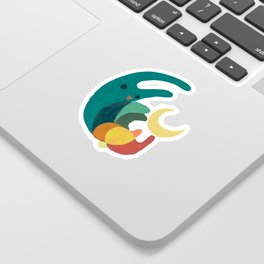 Rabbit and crescent moon Sticker