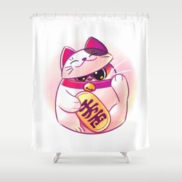 Shy Lucky Cat Shower Curtain