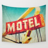 rockabilly Wall Tapestries featuring Thrashed Motel Sign by Honey Malek