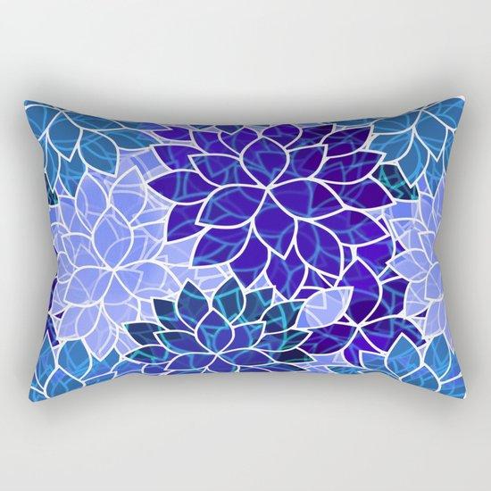 Azurite Blue Flowers Rectangular Pillow