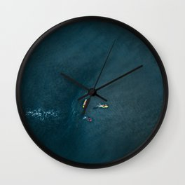 Surfers from Above Wall Clock