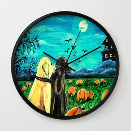 Dogs in Pumpkin Patch Wall Clock