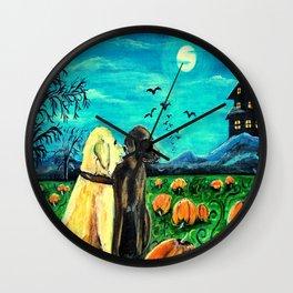 Dogs in Pumpkin Patch Wall Clock